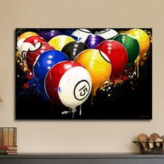 "Maxwell Dickson 'Rack'em' Pool Billiards Painting Print on Wrapped Canvas Size: 36"" H x 48"" W x 1.5"" D"