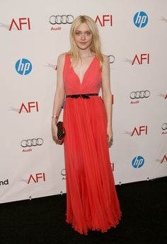 Dakota Fanning in a lovely Gucci coral dress