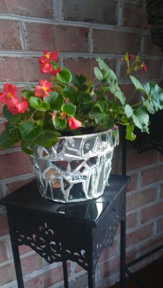 Use broken mirror and grout to terra cotta pot