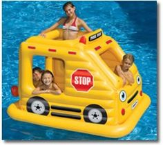 """Your kids will have a blast taking a ride on the Pool Bus. This habitat stands a full 5' tall, 4' wide and 64"""" long, so it can hold a whole pool school of kids. Our Pool Bus comes complete with a steering wheel and a bottom swimming pool. Made of heavy gauge PVC. Inflates easily with our electric air pump. 400 lb weight capacity."""