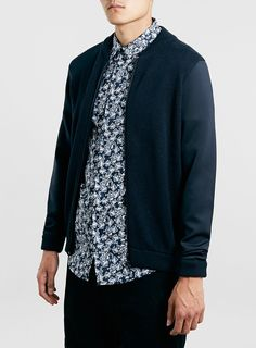 Modern touches with the material, but a classic cut / Navy Neoprene Bomber Jacket / Topman