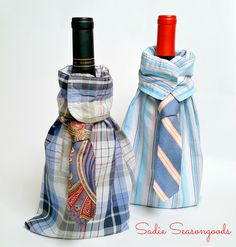 Repurpose an old long sleeve men's dress shirt and tie to create a whimsical, dapper wine gift bag. Use a cuff as the neckline and the smaller end of tie.  Clever and cute bottle cover.Upcycle, Recycle, Salvage, diy, thrift, flea, repurpose, refashion!  For vintage ideas and goods shop at Estate ReSale & ReDesign, Bonita Springs, FL