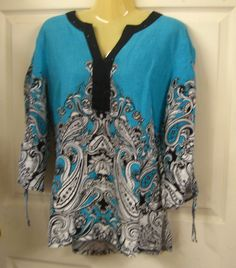 JM Collection Blouse Velvet lapel with Sparkle Teal / Black / and White Size: M #JMCollection #Blouse #Casual