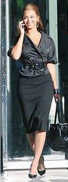 Beyonce in black pencil skirt
