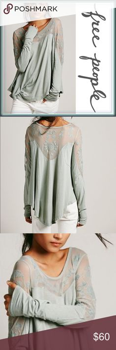Free People Pretty Pretty Tee Blouse ➖BRAND: Free People  ➖SIZE: Small ➖STYLE: Pretty Pretty Tee : Free People Intimates - A gorgeously designed mint colored Blouse with mesh inserts with Floral designs.   ❌NO TRADE  135408 sleeve ruffle off the shoulder Free People Tops Blouses