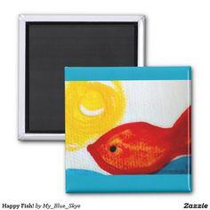 Happy Fish! 2 Inch Square Magnet