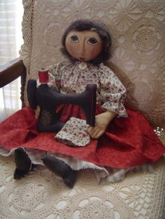 PRIMITIVE Folk Art Cloth DOLL with sewing by Raggedyrhondas