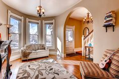 #Historic Denver homes often have charming turrets. Appropriately scaled furniture and layout is key to making the space inviting. Staging by ~ My Inside Designer