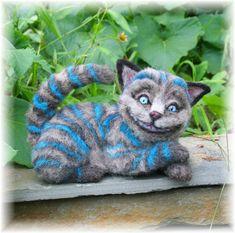 Gato de Cheshire de Wonderland OOAK Alpaca aguja fieltro por SteviT