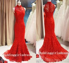 Trumpet High Neck Sleeveless Wedding Dresses Mermaid Appliques 2015 New Arrival Red Lace Zipper Custom Cheap Bridal Gowns Online with $135.61/Piece on Weddinggirlsdress's Store | DHgate.com