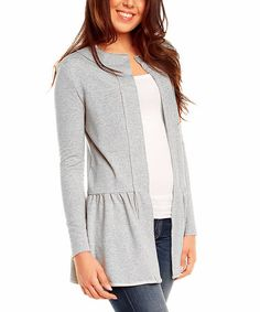 FROM NOMMO & KAREN---LOVES IT!!!   Another great find on #zulily! Gray Peplum Open Jacket #zulilyfinds