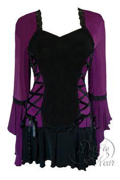 Dare To Wear Victorian Gothic Plus Size Bolero Corset Top Plum