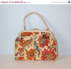 20 Off SALE 1950s Tapestry Handbag / Vintage by FoxyBritVintage, $36.80