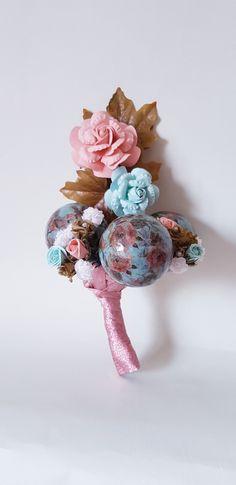 Christmas Baubles, Paper Flowers, Decoupage, Napkins, Bouquet, Homemade, Floral, Pretty, Shop