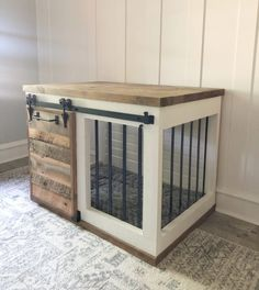 Diy dog crate Farmhouse Barn Door Dog Crate - Shanty 2 Chic Vinyl Siding - Adding Value to Your Home Wooden Dog Crate, Wooden Dog Kennels, Diy Dog Crate, Diy Dog Kennel, Dog Crate Cover, Dog Crate Table, Wooden Crates, Custom Dog Kennel, Wooden Dog House