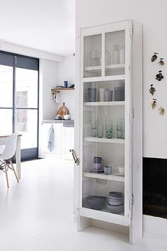 White glass cupboard