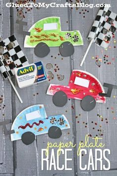"""SPEEDY Paper Plate Race Cars - Kid Craft Tutorial Paper Plate Race Cars - Kid Craft - Glued To My Crafts<br> Today's Paper Plate Race Cars kid craft idea is PERFECT for race fans to create and show off with a """"pit stop"""" at Walmart! Cute Kids Crafts, Paper Plate Crafts For Kids, K Crafts, Glue Crafts, Toddler Crafts, Toddler Activities, Toddler Art, Cars Preschool, Preschool Crafts"""