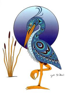 Joe Wilson Canadian First Nation Artist Prints Blue Heron Inuit Kunst, Inuit Art, Arte Tribal, Tribal Art, Native Art, Native American Art, Claudia Tremblay, Kunst Der Aborigines, Haida Art