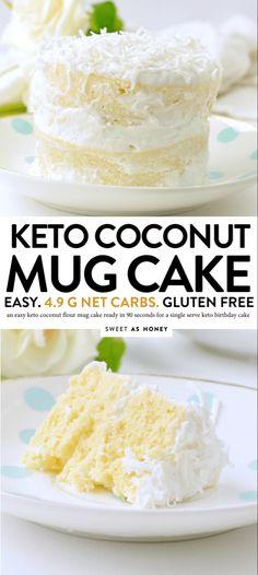 Coconut flour mug cake - keto single birthday cake - Sweetashoney KETO COCONUT FLOUR MUG CAKE easy, low carb, healthy a keto vanilla mug cake with coconut frosting net carbs Low Carb Mug Cakes, Keto Mug Cake, Keto Cupcakes, Low Carb Sweets, Low Carb Desserts, Low Carb Recipes, Healthy Desserts, Recipes With Coconut Flour Low Carb, Healthy Food