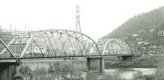 The old Water Street Bridge in Logan, WV taken 1995. The bridge was razed in April 1999.