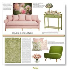 """""""Color Challenge - Green & Blush"""" by talvadh ❤ liked on Polyvore featuring interior, interiors, interior design, home, home decor, interior decorating, Moooi, Oris, Villa Home Collection and Meyda"""