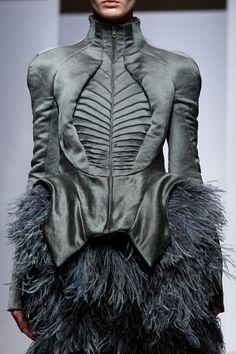 Skeletal jacket with elegant fabrics, patterns & feather textures; fashion design details // Yiqing Yin