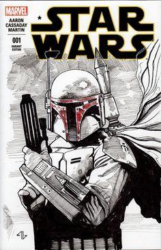 Star Wars # 1 Blank Variant Boba Fett by Adi Granov Boba Fett Art, Star Wars Boba Fett, Star Wars Books, Star Wars Art, Comic Book Covers, Comic Books, Adi Granov, Star Wars Drawings, Ink Drawings
