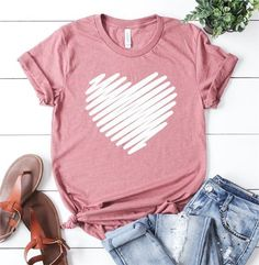 Valentine Heart T-shirt - Cricut T Shirts - Ideas of Cricut T Shirts - Valentine Heart T-shirt Valentine Shirts, My Funny Valentine, Valentine Heart, Vinyl Shirts, Mom Shirts, Cute Shirts, T Shirts For Women, Simple Shirts, T Shirt Designs