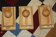 3 Pine Quilt Hangers / Clips / Clamps