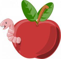 Dibujos animado. Gusano saliendo de una manzana roja.