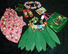 Disney Store Lilo Stitch Hawaiian Hula Dance Costume 9pc Set Leaf Pau Skirts DVD   eBay