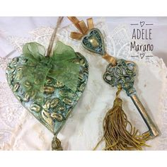 Housewarming gift/First home gift/Unusual gift/key and heart in... ($31) ❤ liked on Polyvore featuring home, home decor, handmade home decor, ceramic home decor, green home decor and heart home decor