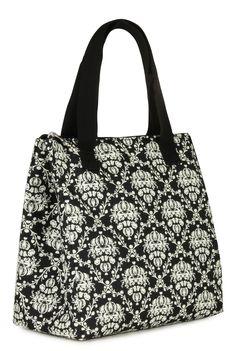Heather Black Damask Insulated Fashion Lunch Bag by KOKO!