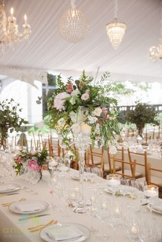 Sweetgrass Social wedding at The Gibbes Museum. Gena & Emil. Tall pink and green floral arrangement for centerpiece.