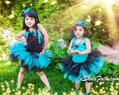 Girl Turquoise Black Tutu Ruffle Petti Top by MalishkaBoutique