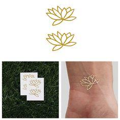 Fully Lotus Metallic Gold Lotus Flower Temporary by Tattify