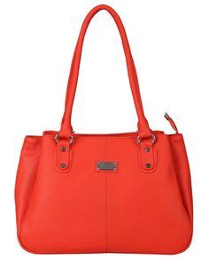 Orange  Polyurethane Handbag