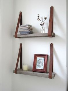 Shelves Pallet Pallet shelves with leather straps - If you are looking for ways to spruce up your small bathroom, then these 15 DIY space-saving bathroom shelving ideas are just for you! Space Saving Bathroom, Small Bathroom, Bathroom Storage, Bathroom Shelves, Storage Shelves, Bathroom Ideas, Diy Casa, Pallet Shelves, Wood Shelves