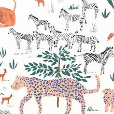 Working on a safari experience 🐆🦓🦒🦏🐘 Jungle Illustration, Pattern Illustration, Botanical Illustration, Watercolor Illustration, Conversational Prints, Stuffed Animal Patterns, Art Challenge, Pretty Art, Simple Art