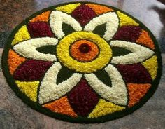 What are Top Flower Rangoli Designs Images 2019 ? - - What are Top Flower Rangoli Designs Images 2019 ? Rangoli is a popular Indian traditional art form that uses. Easy Rangoli Patterns, Easy Rangoli Designs Diwali, Rangoli Simple, Simple Rangoli Designs Images, Rangoli Designs Latest, Rangoli Designs Flower, Rangoli Colours, Latest Rangoli, Small Rangoli Design