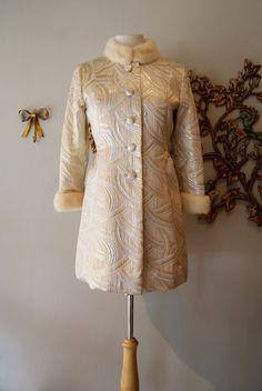 60s Dress / 60s Coat / Mad Men / Vintage 1960s Gold and Silver Brocade Mini Dress and Mink Trimmed Coat  Size M. $348.00, via Etsy.
