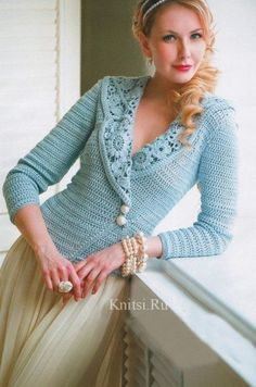 Pattern and chart for crochet jacket. I would knit the jacket and add the lux crochet collar! : Pattern and chart for crochet jacket. I would knit the jacket and add the lux crochet collar! Crochet Bolero, Gilet Crochet, Crochet Coat, Crochet Jacket, Crochet Cardigan, Irish Crochet, Crochet Clothes, Blue Cardigan, Crochet Sweaters