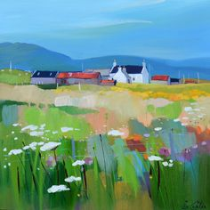 Pam Carter - Island Cluster And Machair 2014 - Oil on Canvas The Strathearn Gallery Watercolor Landscape, Landscape Art, Landscape Paintings, Watercolor Art, Paintings I Love, Beautiful Paintings, Kunst Online, Naive Art, Art And Illustration