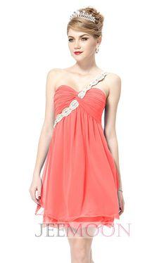 One Shoulder A-line Short/Mini Pink Chiffon Bridesmaid Dress