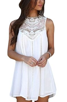 Halife Women's Loose Sleeveless Hollow Crochet Lace Patchwork Pleated A-Line Short Chiffon Dress, White, Small