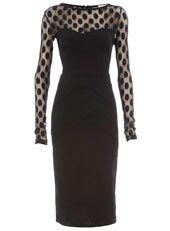 Great Dresses, Affordable Prices! (Shown: Black Spot Mesh Ponte Dress).