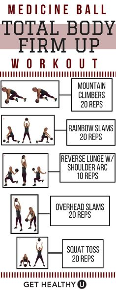 Pick the medicine ball of your choice to slam and toss your way to a sculpted and strong body with this 100 rep total body medicine ball workout. Try 1-3 rounds of this workout and check out our free exercise library for easy to follow upper body, total, body, core, and Yoga workouts.