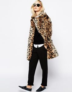 """If you ever think, """"Hmm. I'd love to buy Sarah something equal parts frivolous and fabulous,"""" have I got a jacket for you...  River Island Faux Fur Leopard Jacket"""