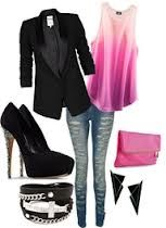 Love the pop of color with the black. Very rocker chic, but love that it has the pop of pink.