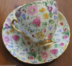 Shelley 1940s Porcelain Footed Tea Cup & Saucer Countryside Chintz Gold 13701